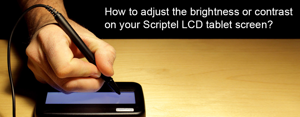 How to adjust the brightness or contrast on your Scriptel LCD tablet screen?